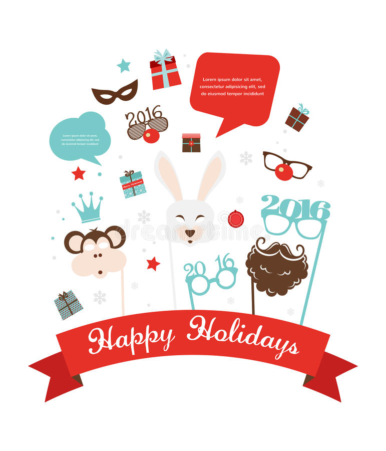 Photobooth Birthday and new year party set stock illustration