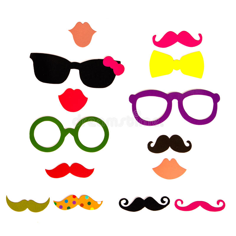 Photobooth Birthday and Party Set. Glasses, hats, crowns, masks, lips, mustaches royalty free stock images