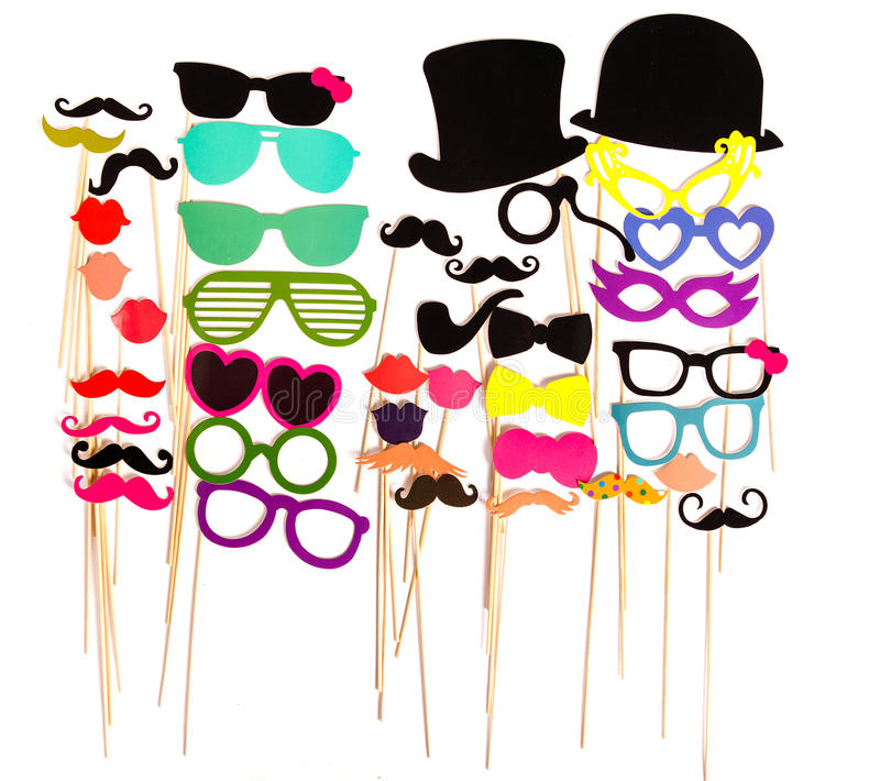 Photobooth Birthday and Party Set. Glasses, hats, crowns, masks, lips, mustaches stock photo