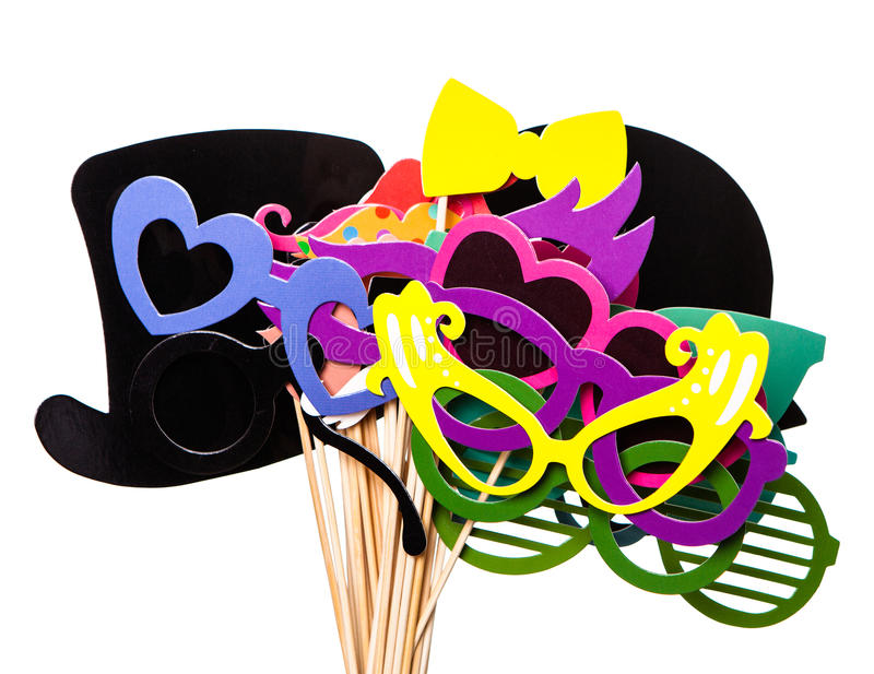 Photobooth Birthday and Party Set glasses, hats, crowns, masks, lips, mustaches. Photobooth Birthday and Party Set - glasses, hats, crowns, masks, lips stock photo