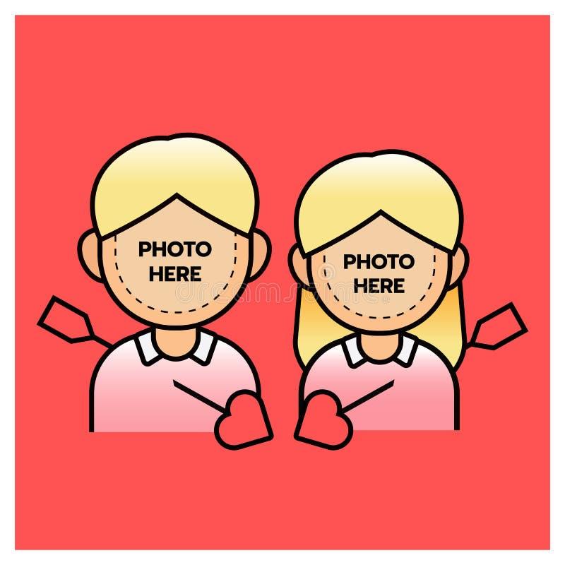 Photobooth-Paarjunge und -mädchen mit Pfeil, glücklicher valentine's Tag Set der lustiger Zeichentrickfilm-Figurfedern und -ble vektor abbildung