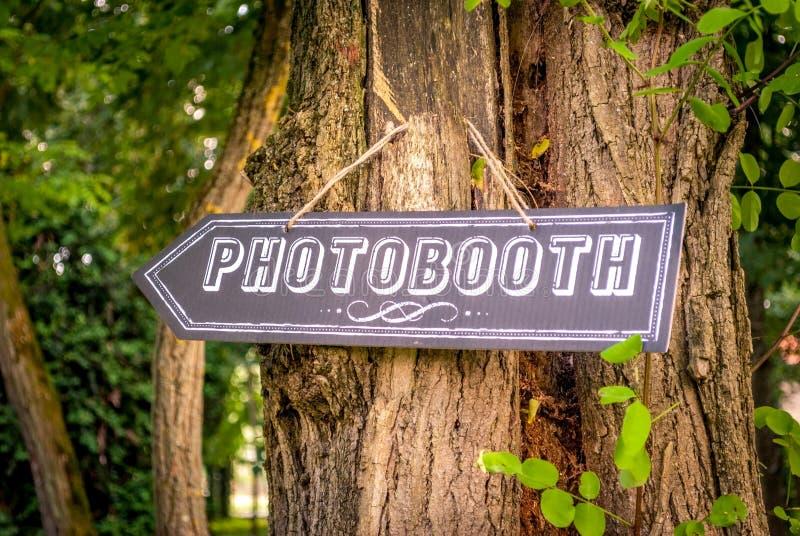 Photobooth riktning på ett bröllop royaltyfri bild