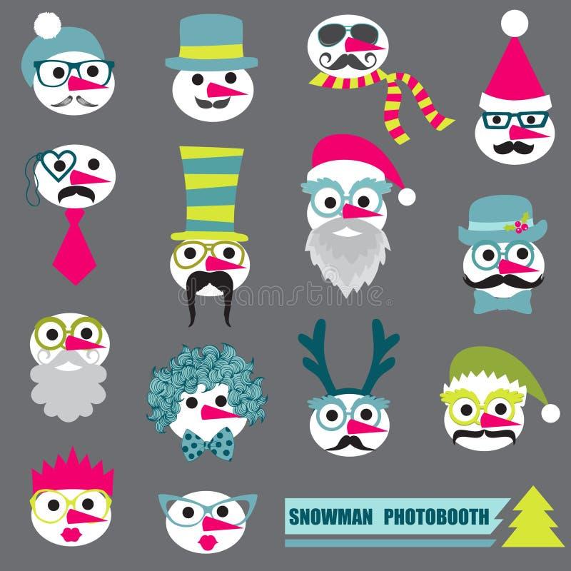 Photobooth Snowman Party set stock illustration