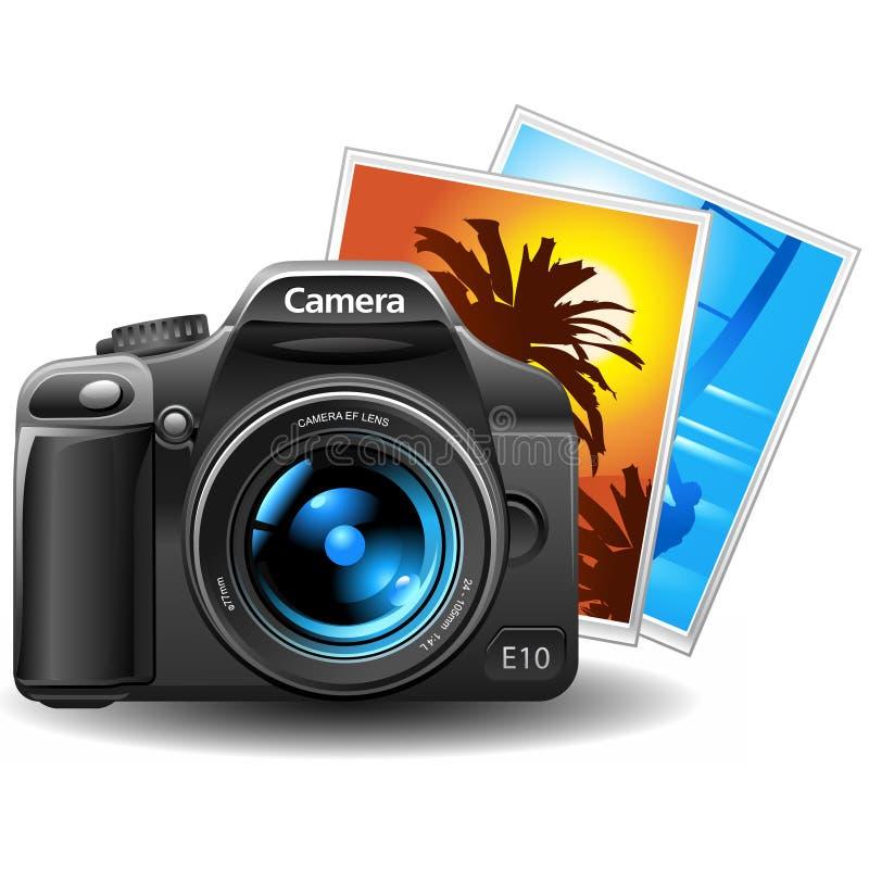 Photocamera com retratos ilustração royalty free