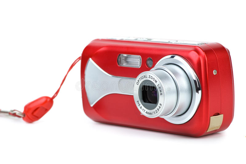 Photocamera digital compact rouge images stock