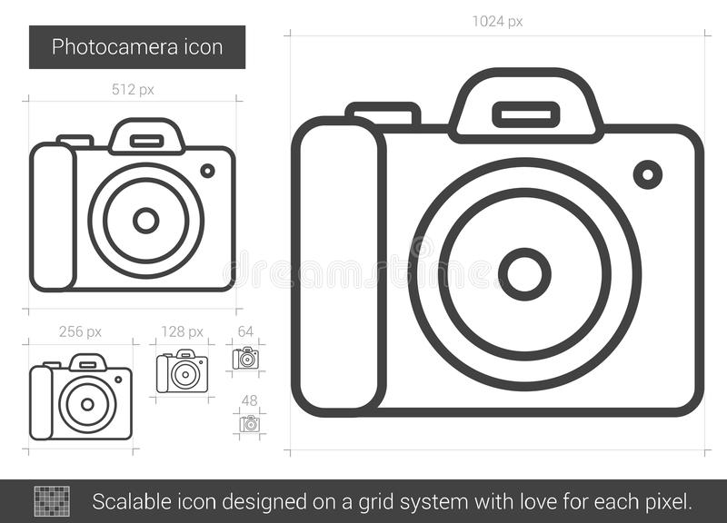 Photocamera linje symbol stock illustrationer
