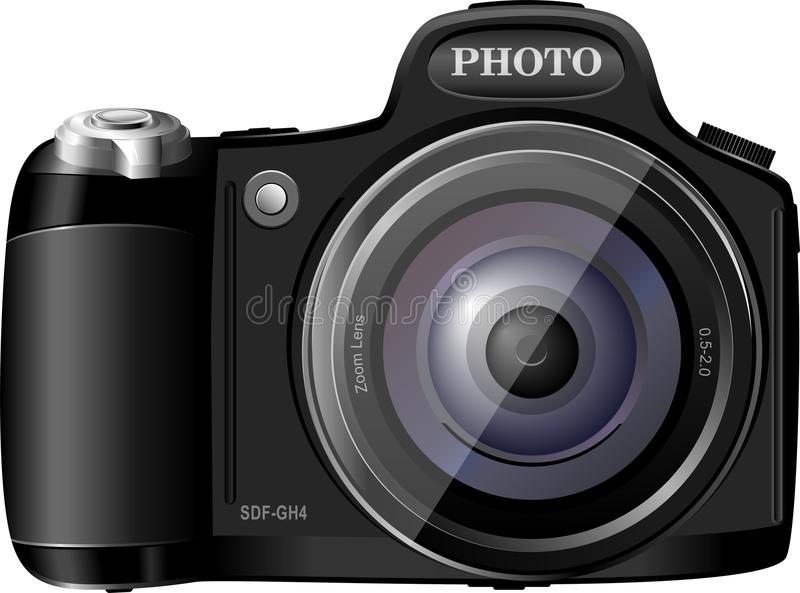 Photocamera. Realictic vector illustration isolated on the white vector illustration