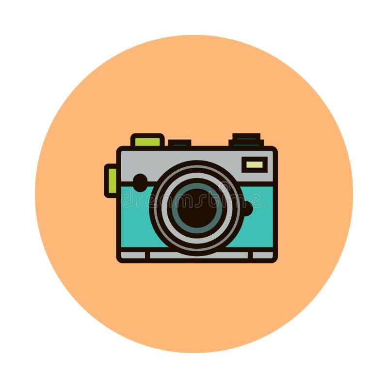 Photocamera vektorlinje symbol som isoleras på vit bakgrund Photocamera linje symbol för infographic, website eller app royaltyfri illustrationer