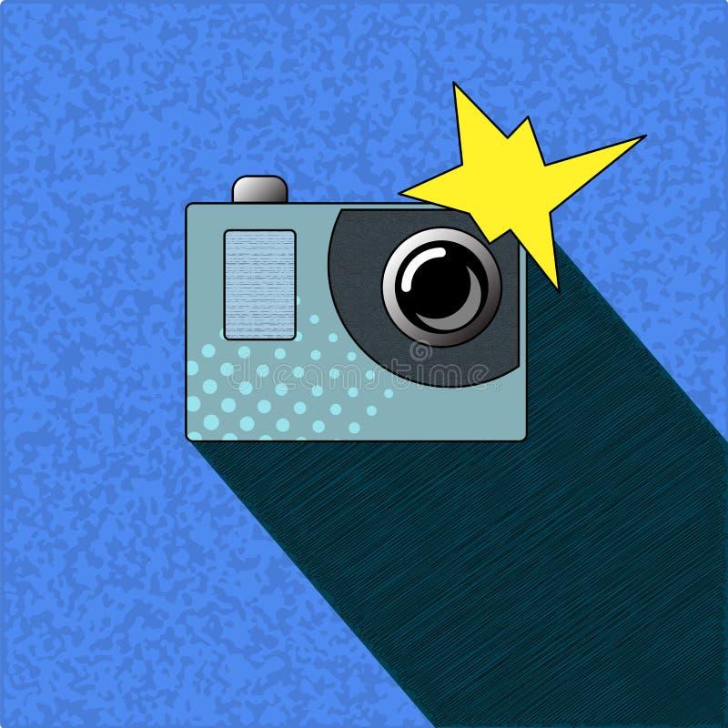 Photocamera z błyskiem w wystrzał sztuki stylu Akci kamera z małym obiektywem i kruszcowym guzikiem ilustracji