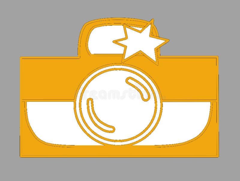 Photocamera z błyskową pomarańcze, bielem/ zdjęcia stock