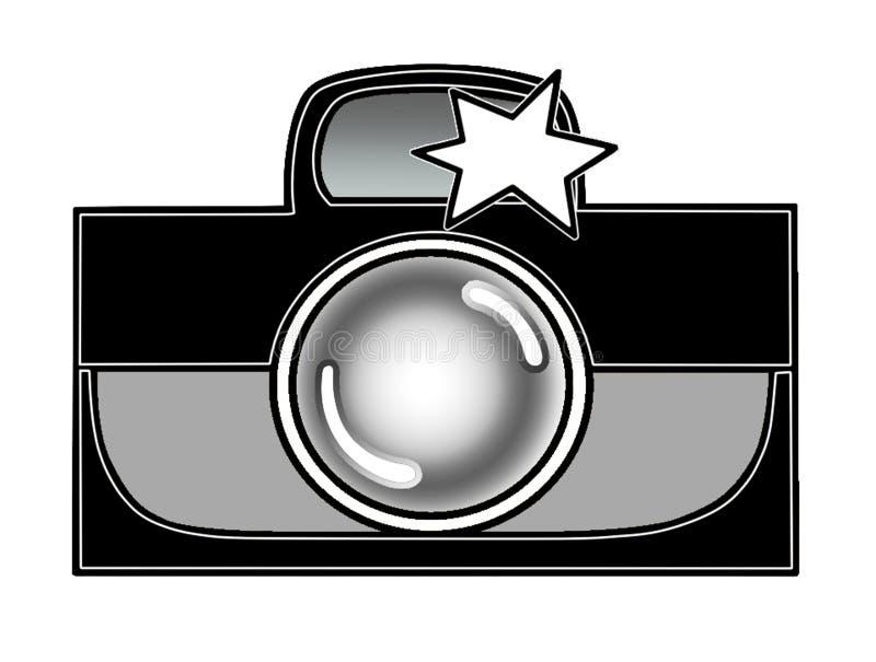Photocamera z błyskowy czarnym, bielem/ zdjęcie royalty free