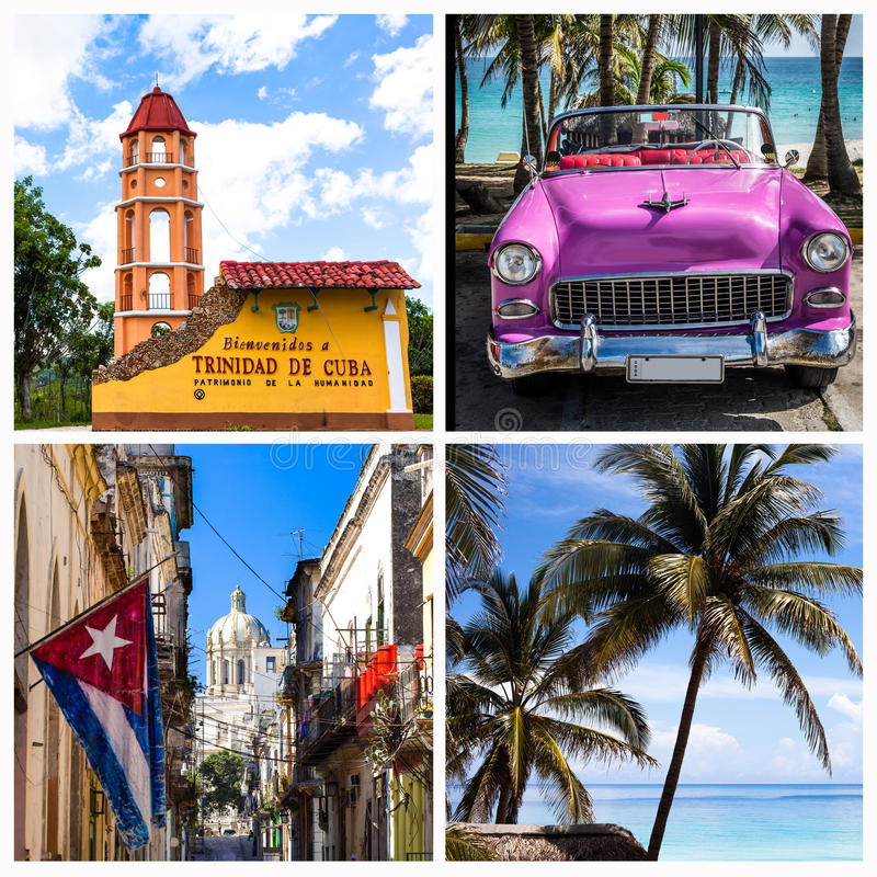 Photocollage van Cuba met strand Havana Trinidad en klassieke auto's royalty-vrije stock foto