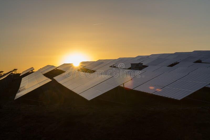 Photocoltaik. A big photovoltaik complex at sundown royalty free stock image
