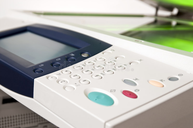 Photocopier. Close-up on a control panel of an office copier royalty free stock photography