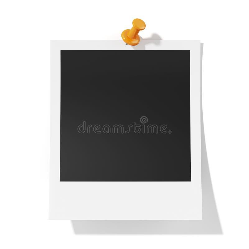 Photoframe с оранжевым isolatd pushpin на белой предпосылке иллюстрация штока