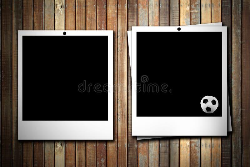 Photoframe dois com esfera de futebol ilustração stock