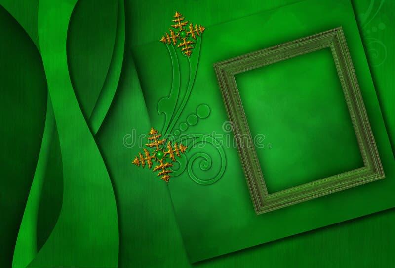 Photoframe elegante com flocos de neve metálicos foto de stock royalty free