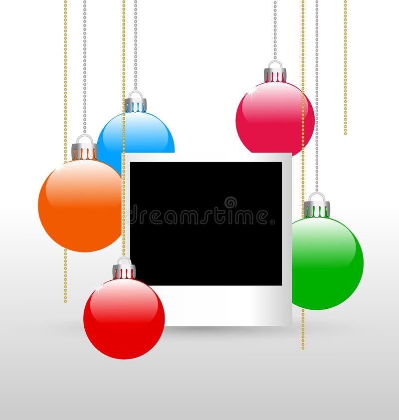 Photoframe mit Weihnachtsbällen stock abbildung