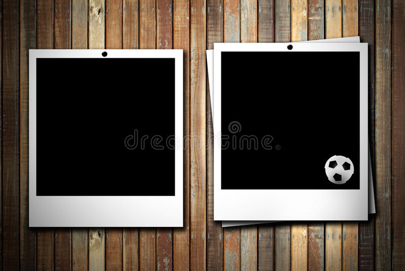 Photoframe zwei mit Fußballkugel stock abbildung