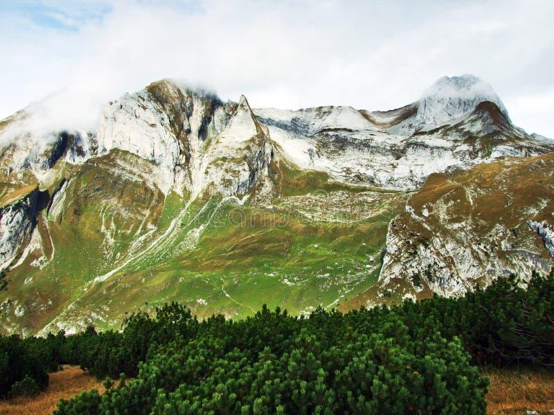 Photogenic выгоны и холмы горной цепи Alpstein стоковое фото
