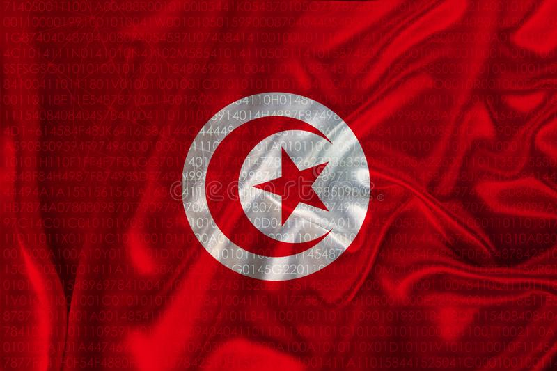 Photograph of the beautiful colored national flag of the modern African state of Tunisia on textured fabric, concept of tourism,. Emigration, economics and stock image