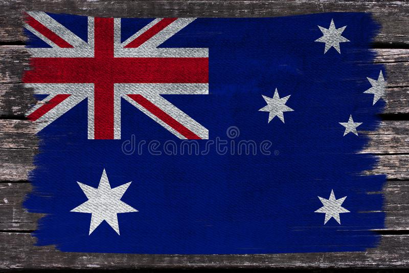 Photograph of the beautiful colored national flag of the modern state of Australia on textured fabric, concept for tourism,. Economics and politics stock photo