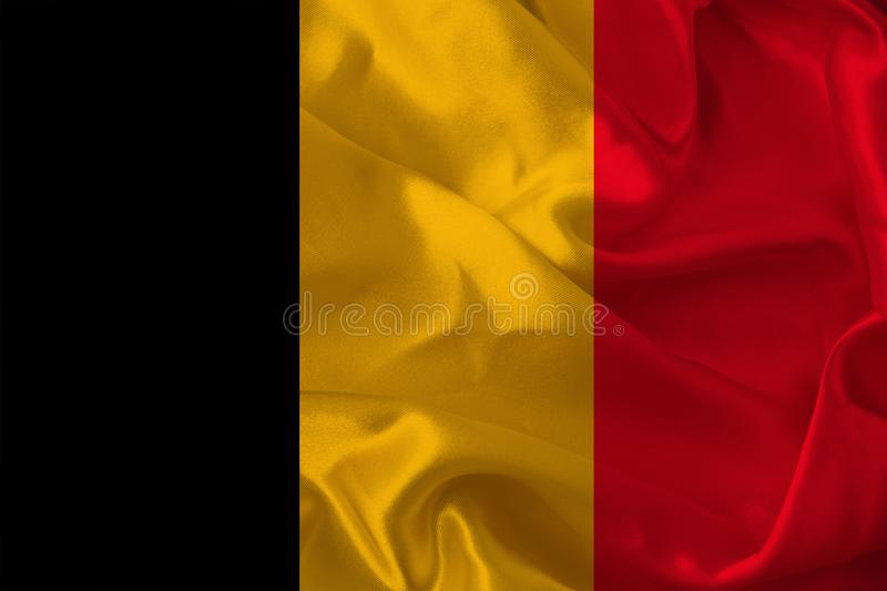 Photograph of the beautiful colored national flag of the modern state of Germany on textured fabric, concept of tourism, economics. And politics stock image