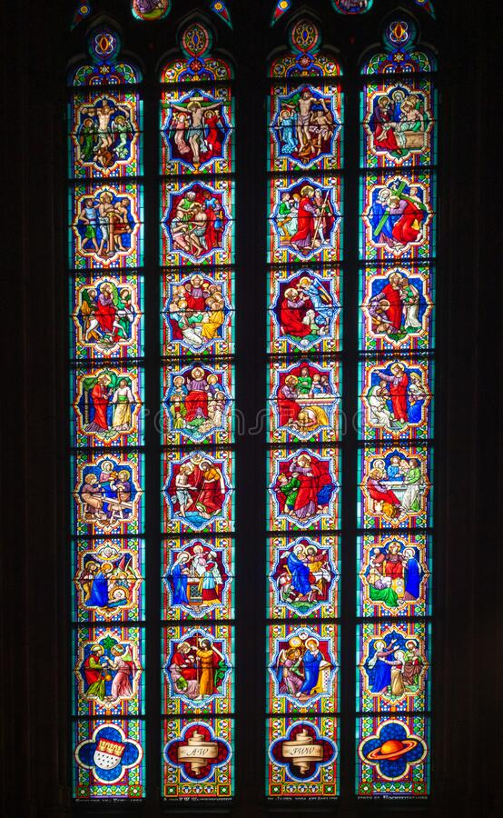 Cologne Cathedral stained glass window stock images
