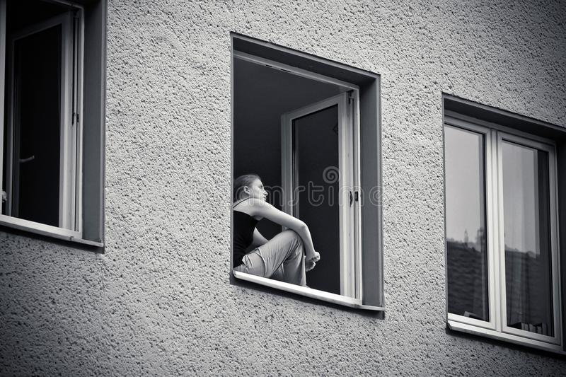 Photograph, Black, Black And White, Window stock image