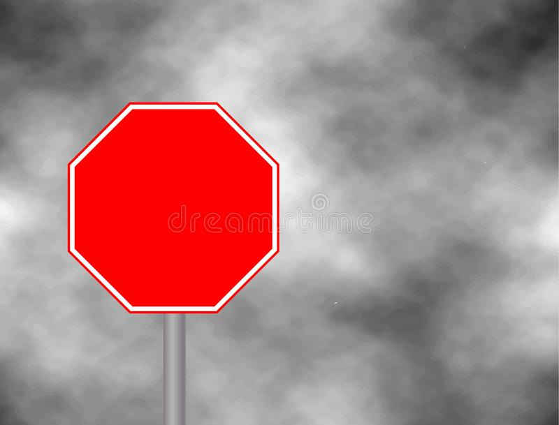 Photograph of a blank red traffic stop sign with rectangular white bordered. Text letters have been removed. Stop sign on grey sky stock illustration