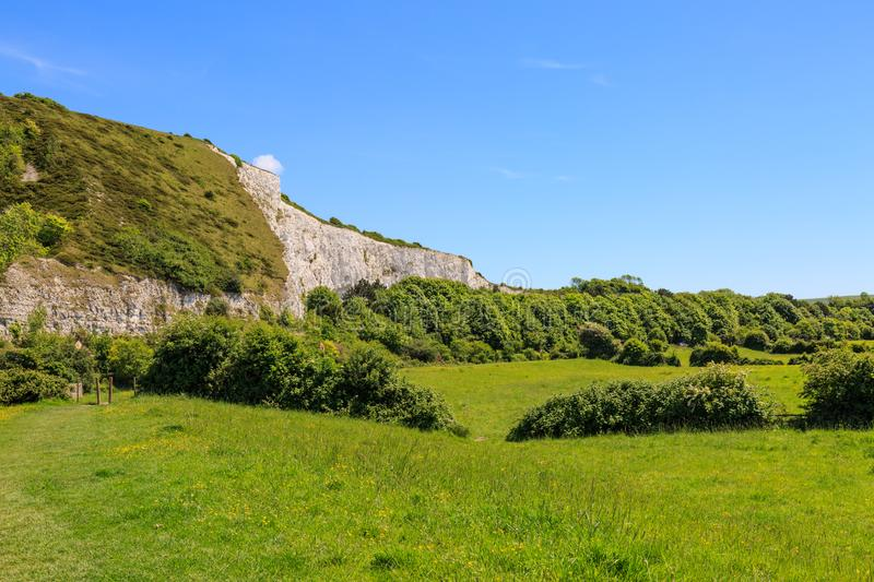 Chalk Cliffs at Lewes, Sussex. A photograph of chalk cliffs in Lewes, East Sussex, taken on a sunny summers day royalty free stock image