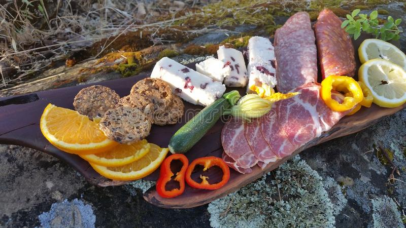 Photograph of Charcuterie Appetizers Outdoors royalty free stock photo