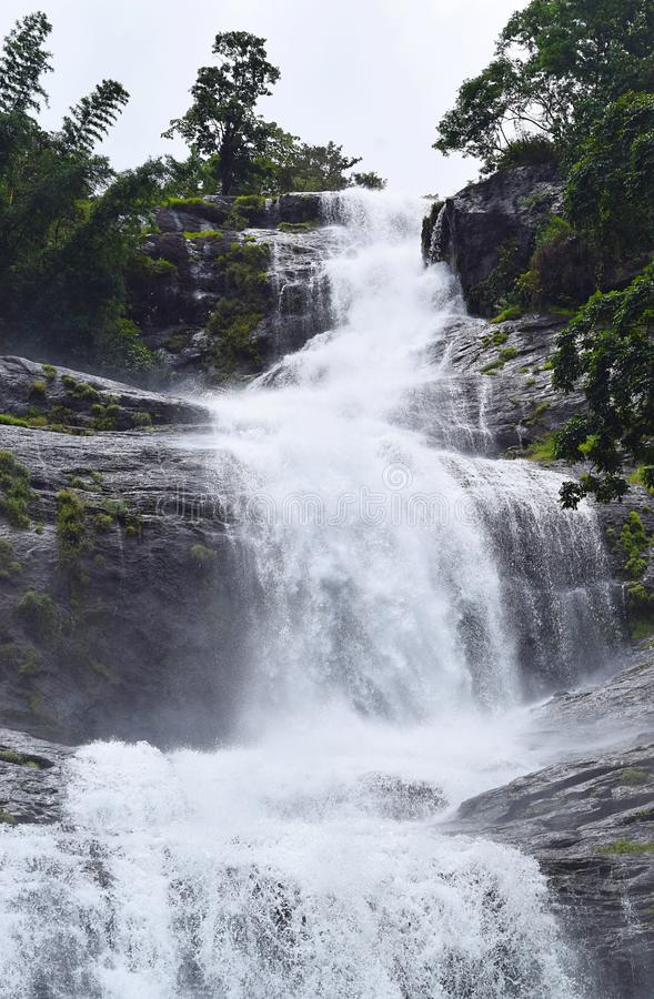 Giant Tiered Waterfall with Green Forest - Cheeyappara Waterfalls, Idukki, Kerala, India. This is a photograph of Cheeyappara waterfalls, which is on Munnar stock photography