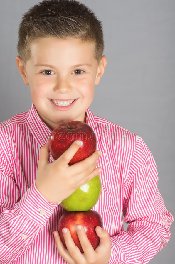 Download The child of apples 17 stock photo. Image of face, meal - 29860022