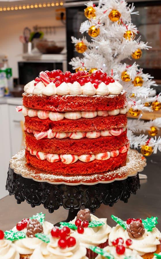Red velvet cake and gingerbread cupcake. Photograph of christmas sweets, red velvet cake and gingerbread cupcake stock photo