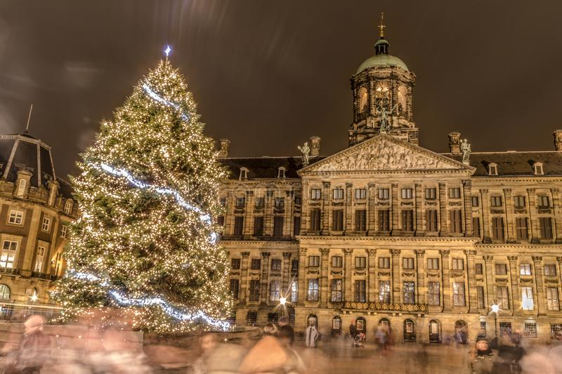 Amsterdam light festival. This is a photograph of the Christmas tree on the dam in Amsterdam during the Amsterdam light festival royalty free stock images