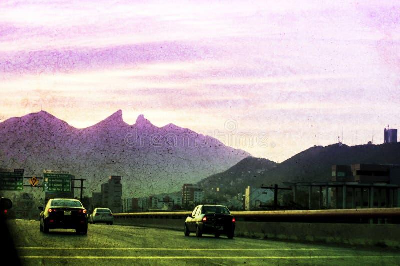Cerro de la Silla Monterrey Mexico. Photograph of the city of Monterrey Mexico and its characteristic `Cerro de la Silla` mountain with color gradient stock photos
