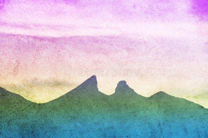 Cerro de la Silla Monterrey Mexico. Photograph of the city of Monterrey Mexico and its characteristic `Cerro de la Silla` mountain with color gradient stock images
