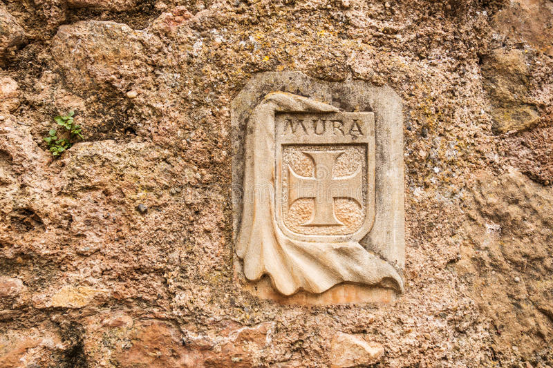 Coat of arms of Mura village. Photograph of coat of arms of Mura village, Mura, Catalonia, Spain stock photos