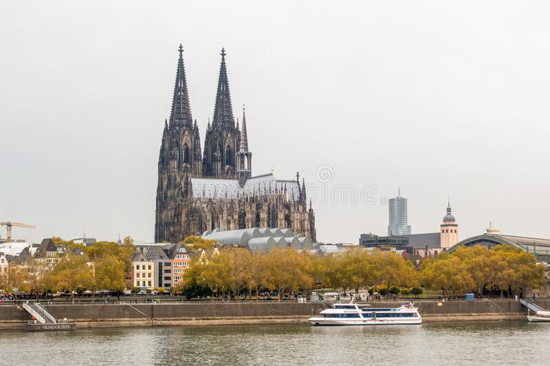 Cologne Cathedral from the riverside view stock photo