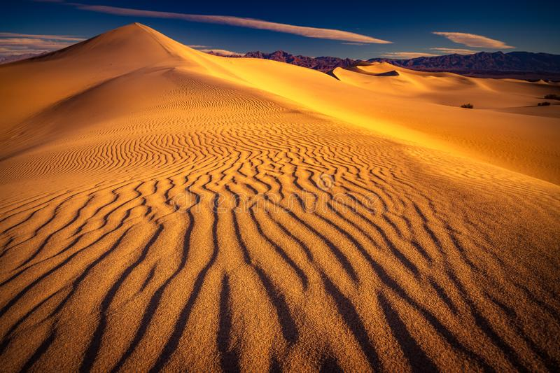 Sand dunes pattern in Death Valley National Park. This is a photograph of Death Valley National Park with sand dune pattern royalty free stock images