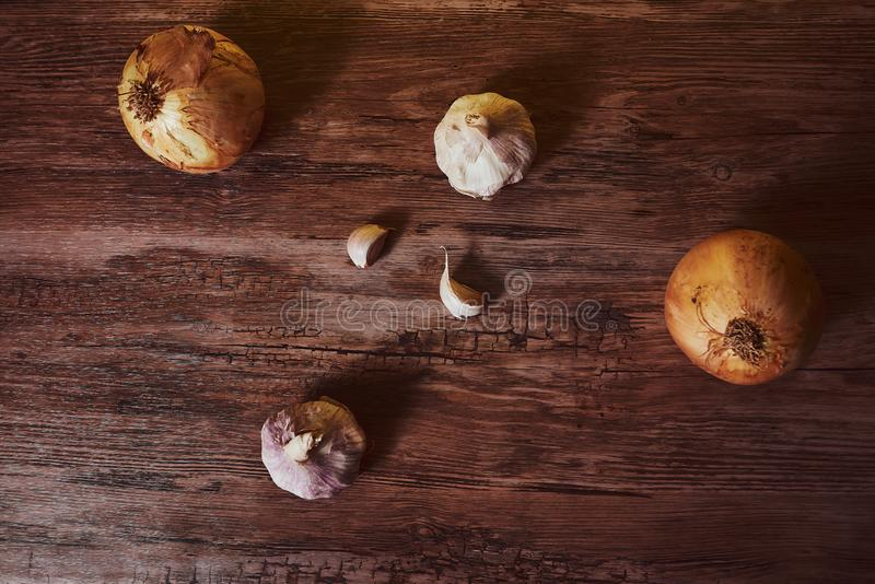 Photograph with garlic and organic onions. stock images