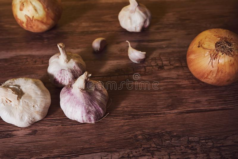 Photograph with garlic and organic onions. stock image
