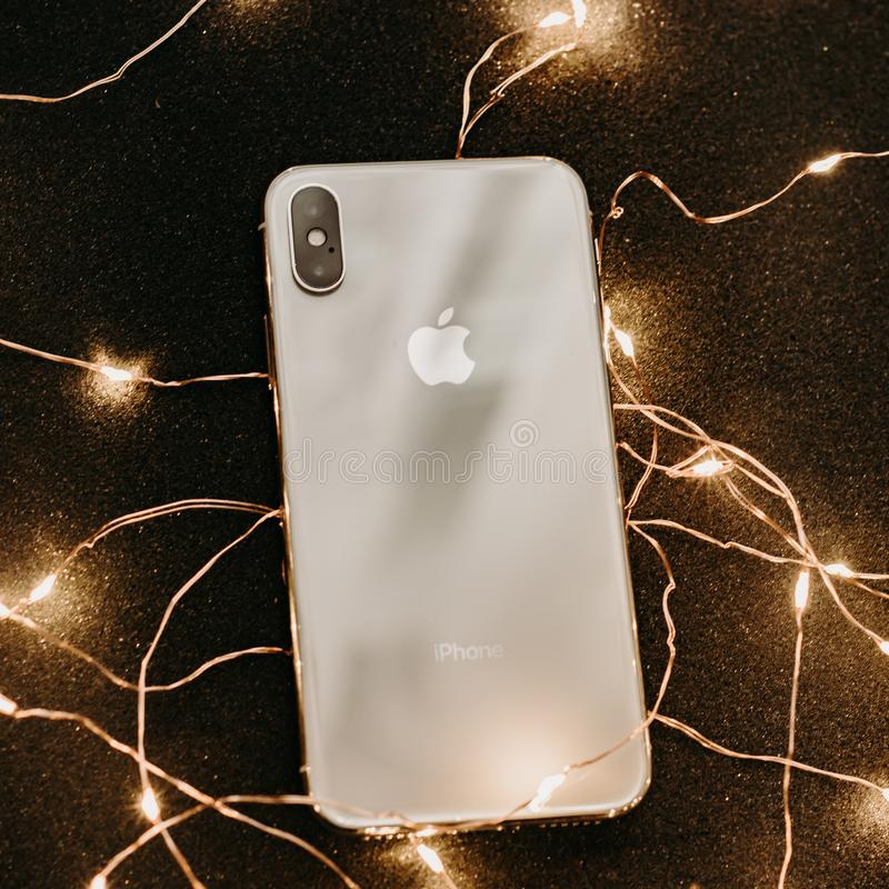 Photograph Of Iphone Surrounded With Fairy Lights Free Public Domain Cc0 Image