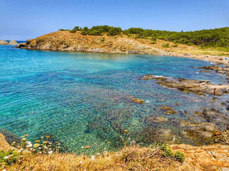 Photograph of a landscape of sea and mountains belonging to the Costa Brava of Girona in Spain stock photos