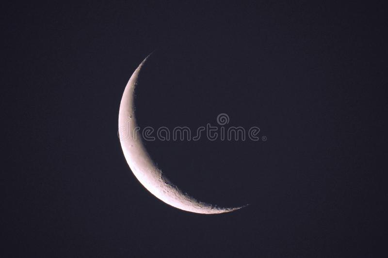 Moon Crescent Waning - Photograph taken January 2 2019. A photograph of the last crescent phase waning of the moon on January 2 2019 as seen in UK skies. The stock photography