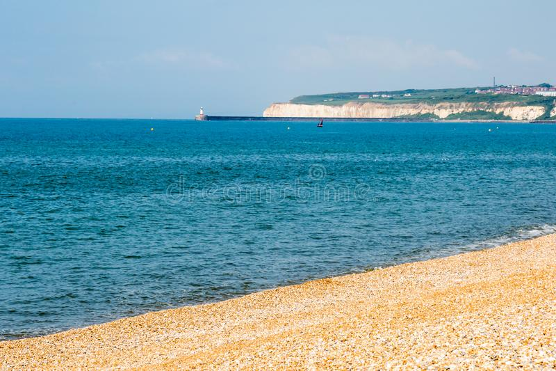 The view towards Newhaven. A photograph looking towards Newhaven in Sussex, taken from the beach at Seaford royalty free stock photos