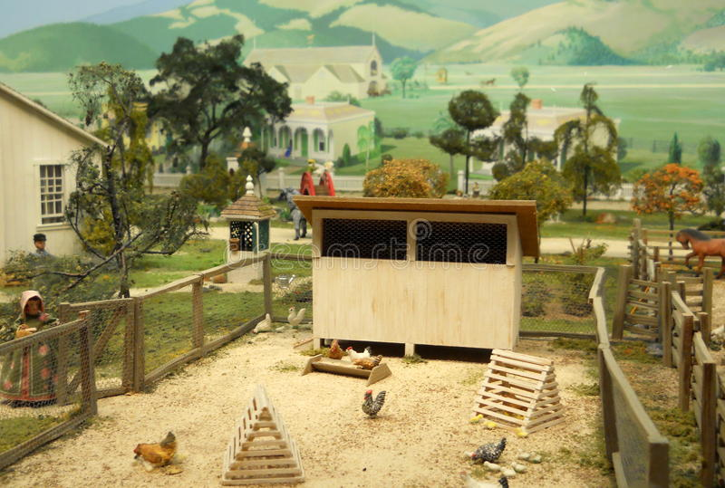 Photograph of Miniature Diorama. Photograph featuring a diorama featured at a California history museum royalty free stock images