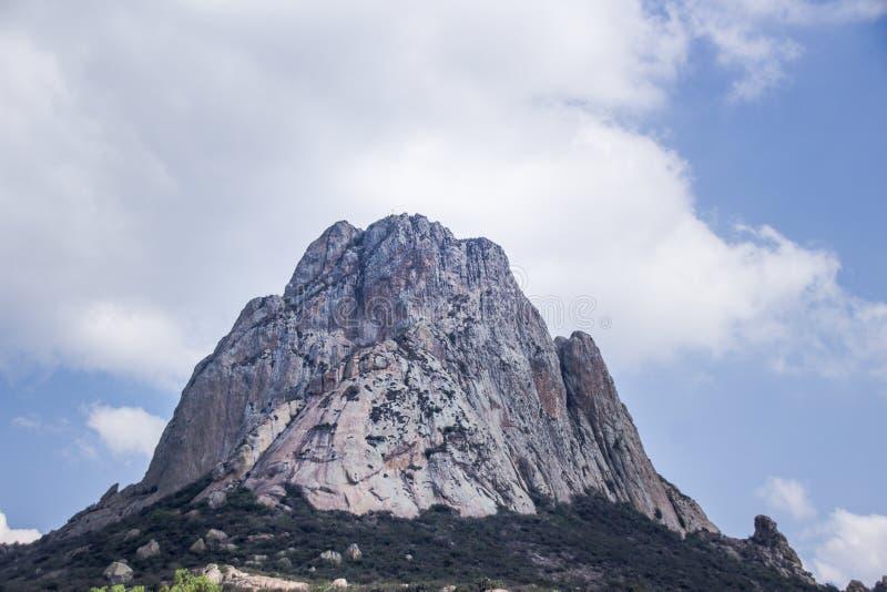 Pena de Bernal mountain in Queretaro Mexico. Photograph of the Pena de Bernal mountain in Queretaro Mexico royalty free stock photography
