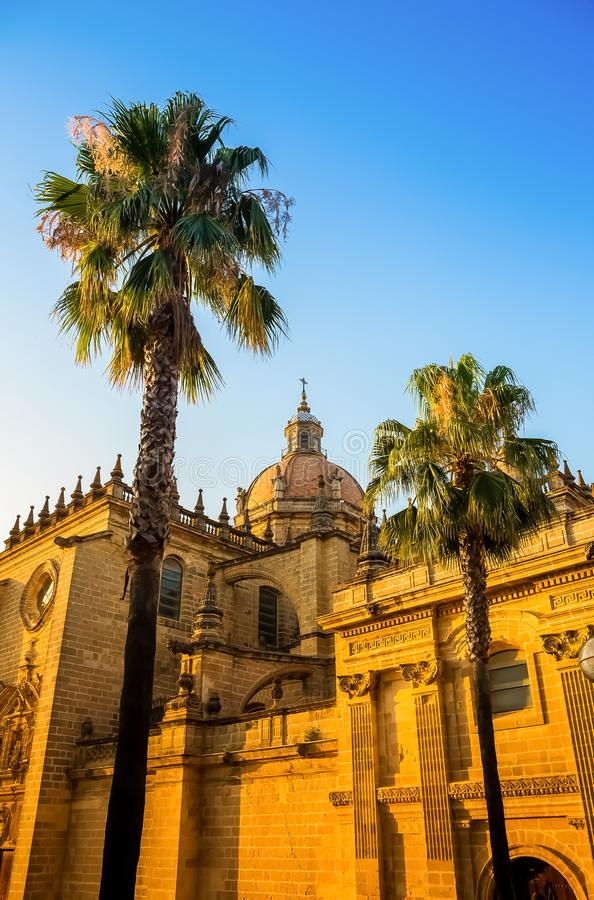 Cathedral of the Holy Saviour in Jerez de la Frontera. Photograph of the roof of the Cathedral of the Holy Saviour in Jerez de la Frontera, catolic church, Jerez stock photography